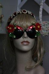 SOLD! 227 Embellished Flower Leaf Enamel Hands Unusual Top Heavy Cherub Sunglasses