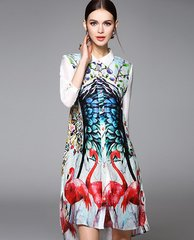 919 Flamingo Designer Inspired  Free Shape Print Fancy Shirt-dress