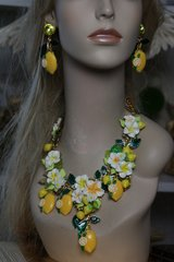 1303 Designer Inspired Lemon Fruit Enamel Set Necklace+ Earrings