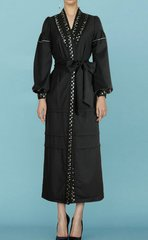 1562 Designer Fancy Trench Inspired Bow Lace Mid Cuff Dress