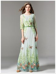 2428 Plus Sizes Designer Inspired Stunning Goose Embroidery Maxi Dress Gown