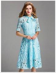 2362 2 Colors Crochet Stunning Knee Length Summer Dress