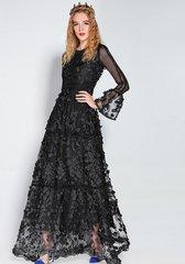 1746 Designer Black Leaf Sheer Stunning Gown Maxi Dress