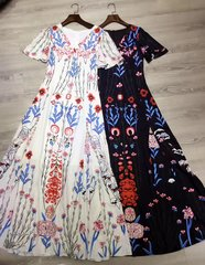 2527 Designer Inspired 2 Colors Florsl Print Maxi Dress