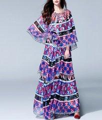 38  Flowing Coco Print Cape Summer Maxi Dress