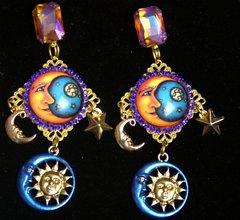 2270 Stunning Bright Star Moon Sun Cameo  Earrings
