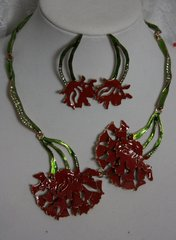 1398 Enamel  Designer Carnation Set Necklace Plus Earrings