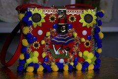 SOLD! 96 Italy Embellished Sunflower Pompom Handbag