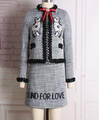 1603 Designer Inspired Dog Patch Tweed Blend Twinset