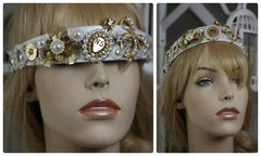 888  Madam Coco Twid Embellished Brooches Rhinestone White Headband