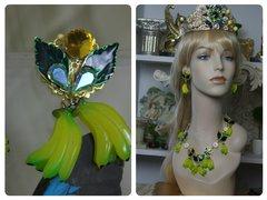 1402 Desigber Inspired Banana Enamel Leaf Crystal Studs Earrings