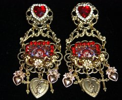 SOLD! 2519 Virgin Mary Cameo Charms Red Heart Studs Earrings