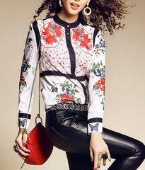 1692 Spring 2017 Designer Inspired Floral Print Blouse