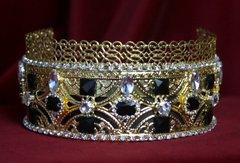 1699 Baroque Filigree Black Clear Crystal Crown Headband
