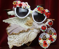 2718 Set Of Earrings+ Baroque Poppy Daisy Ladybug Sunglasses