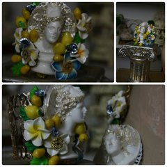 731  Bangle Roman Statue Lemon Fruit Flower Bracelet