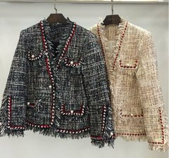 1633 2 Colors Madam Coco Tweed Pearl Button Blazer