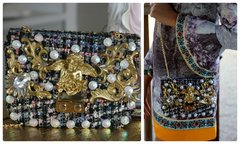 SOLD! 962  KIDS Madam Coco Gold Cherub Baroque Twid Rhinestone Eye-Catch Red Fairy Purse Handbag