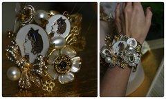 839  SET Madam Coco Enamel Brooches Embellished Unusual Fancy Coco Pearl Bracelet