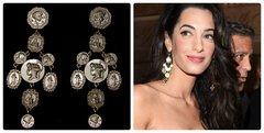 Runway Designer Inspired Roman Coin Dangle Studs Earrings