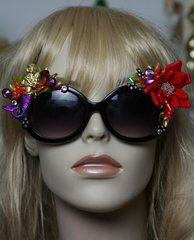 480 Mermaid 3D Coral Art Nouveau Embellished Unusual Sunglasses UV400