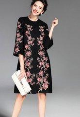 1213 Winter Wollen Blend Pink Flower Embroidery Eloegant Coat