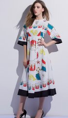 1552 Summer Drum Print White Mid Cuff Dress
