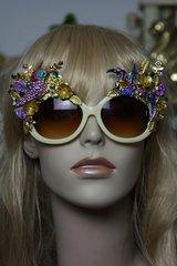 984  Art Nouveau Enamel Flower Crystal Exotic Birds Flower Embellished Fancy Shades Sunglasses Eye Wear