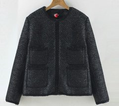 1635 MAdam Coco Tweed Fancy Black Jacket Blazer