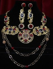 1617 Repurposed Chanel Vintage  Button Baroque Style Chained Necklace Set