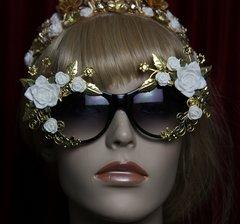 SOLD!1957 White Rose Gold Leaf E,bellished Sunglasses
