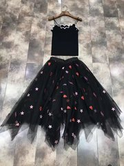 2512 2 Colors Designer Inspired Star Heart Sheer Skirt+ Top