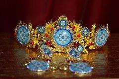 2228 Set Of Sicilian Tile Print Crystal Cameo Tiara+ Earrings
