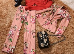 2147 Designer Inspired high End Floral Print Salmon Twinset