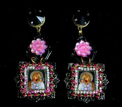 1955 Virgin Mary Cameo Black Filigree Studs Earrings