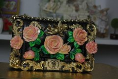 SOLD! 522 Baroque Gold CherubsHand Painted Chunky Roses  Le Boy  Shoulder Handbag