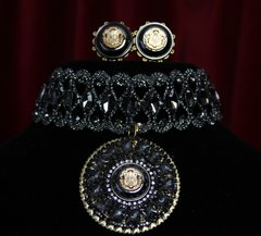 SOLD!1841 Baroque Black Crystal Choker Set