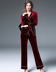 1742 Trendy Pagamas Inspired 2 Colors Velvet Twinset