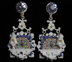 1943 Unusual Italian Tile Print Window Lamp Studs Earrings