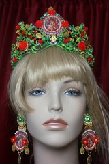 2224 Set Of Hand Painted Virgin Mary Coin Tiara + Earrings