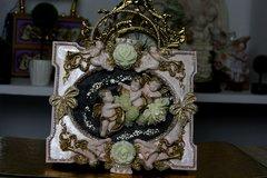 SOLD! 540 Total Baroque Vivid Cherubs Flower Unusual Unique Hand Painted Sigar Box Handbag Trunk