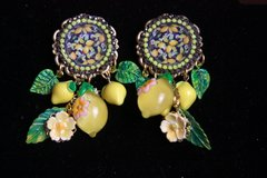 SOLD! 2347 Lemon Cameo Print Dangle Lemons Flowers Studs Earrings