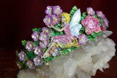 2311 Unusual Hand Painted Glitter Fairy Crown Tiara