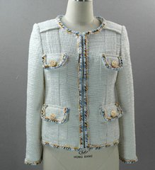 2152 High- End Madam Coco Light Blue Tweed Jacket Blazer