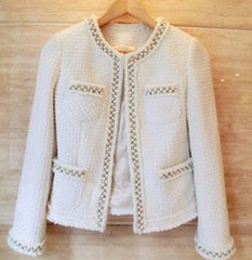 1658 2 Colors Madam Coco Tweed Pearl Beaded Classy Blazer