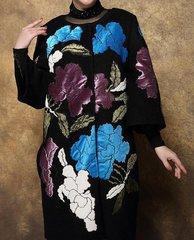 1608  Plus Sizes Winter Wool Silk Flower Patch Amazing Coat