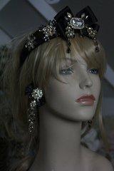 SOLD! SET Spring 2016 Inspiration Black Rhinestone Bow Headband Tiara