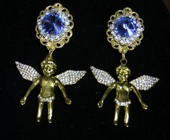 2442 Baroque Gold Crystal Cherub Angel Studs Earrings