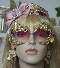 SOLD! 1410 Total Baroque Pale Pink Gold Embellished Sunglasses
