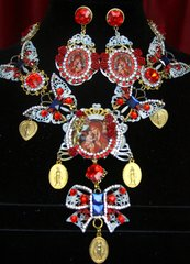 2175 Set Of Veirgin Mary Hand Painted Butterfly Coin Necklace+ Earrings